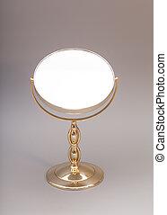 goldenes, spiegel, freigestellt, hintergrund, graue