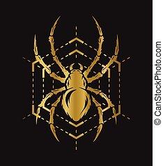 goldenes, spinne, und, web.