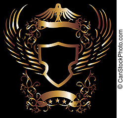goldenes, stammes-, vektor, kunst, adler