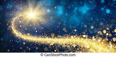 goldenes, stern, glänzend, weihnachten, nacht