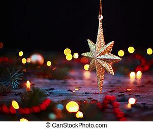 Stern Weihnachtsbeleuchtung.Stern Verwischt Lichter Hintergrund Hängender Feiertag