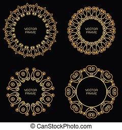 goldenes, stil, satz, grobdarstellung, rahmen, vier
