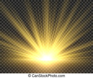 goldenes, strahlen, radiance., isolated., sonne, gelber , sonnenschein, abbildung, scheinwerfer, hell, vektor, sonnenlicht, starburst, durchsichtig