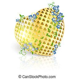 goldenes, tag, valentineçs, herz