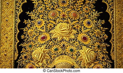goldenes, teppich, muster