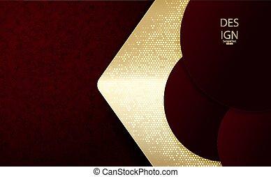 goldenes, textural, rosa, rahmen, abstrakt, burgunder, zusammensetzung, dunkel, satz, pfeil, runder , farbe