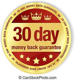 goldenes, titel, geld, 30, zurück, füllung, abzeichen, tag, rotes , garantie