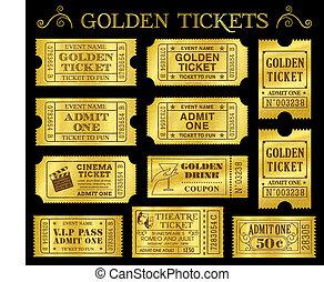 goldenes, vektor, fahrschein, schablonen