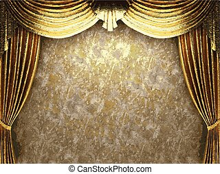 goldenes, vektor, hintergrund, vorhang