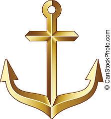 goldenes, vektor, schiffsanker