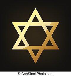 goldenes, vektor, stern, david., abbildung