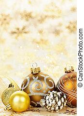 goldenes, verzierungen, weihnachten, hintergrund