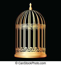 goldenes, vogelkäfig