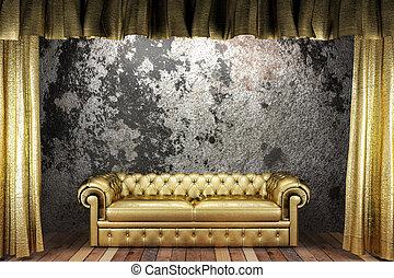 goldenes, vorhang, sofa