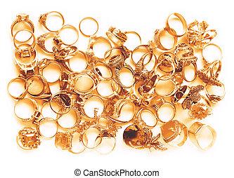 goldenes, weißes, ringe, finger