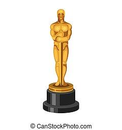 goldenes, weißes, vektor, statue, hintergrund.