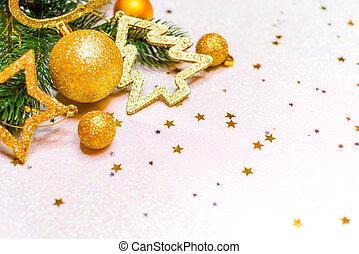 goldenes, weihnachten, hintergrund, weihnachtskarte, ort, für, text
