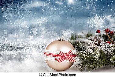 goldenes, weihnachten, kugeln, aus, funkeln, feiertag, hintergrund
