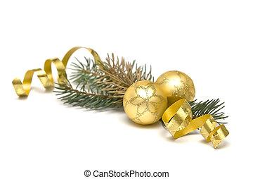goldenes, weihnachtsdekorationen