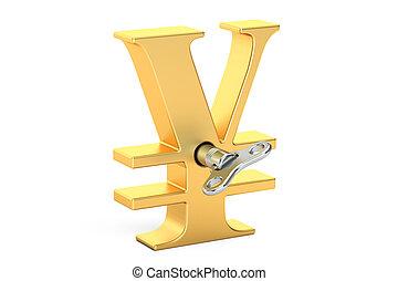 goldenes, wind-up, yensymbol, übertragung, schlüssel, 3d