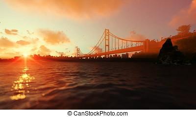 Goldengate Bridge against beautiful sunset, travel cam