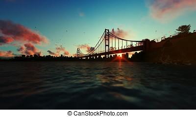 Goldengate Bridge against beautiful timelapse sunrise,...