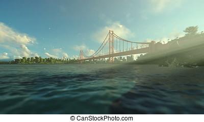 Goldengate Bridge against blue sky, travel cam