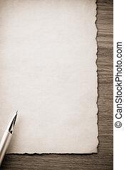 goldfeder, auf, pergament
