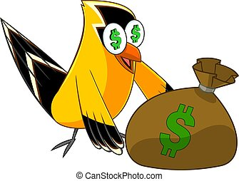 Goldfinch Bird Cartoon Character With Money Bag