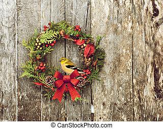 Goldfinch on wreath.
