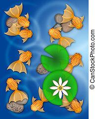 goldfisch, schwimmender, in, teich, abbildung