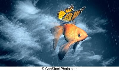 Goldfish and butterfly flies in the sky