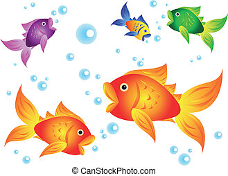 Goldfish and friends - Fun and colorful sea creatures: ...