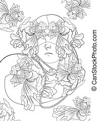 goldfish and human coloring page - elegant goldfish and...