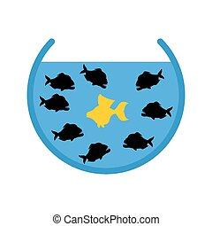Goldfish and Piranha in Aquarium. Evil Ocean predators surrounded  yellow good fish. Hopeless situation.