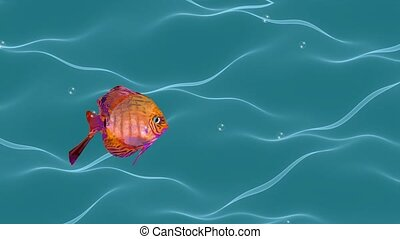 Goldfish animation, cute fish flowing in wavy water with air...