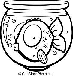 Goldfish Bowl - A cartoon goldfish in a glass bowl.