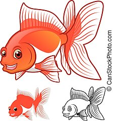 goldfish, caricatura, fantail