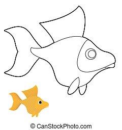 Goldfish coloring book. Fantastic yellow fish. Vector illustration