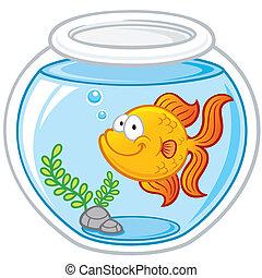 Goldfish - Vector illustration of Goldfish in a bowl
