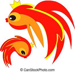goldfish, encima, blanco