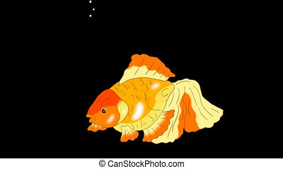Goldfish Floating in Aquarium Alpha Matte - Goldfish...