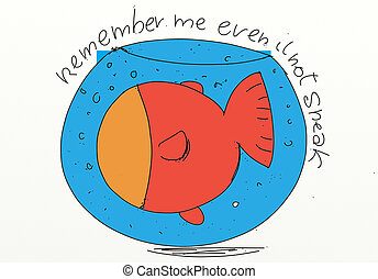 goldfish in a bowl stylized comic book style humorist drawings
