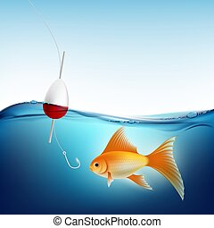 Goldfish in water and a fishing hook with a float. Stock...