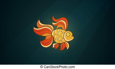 Goldfish Isolated On A Dark Background. Low-poly Vector Illustration . Digital Images Consist Of Lines