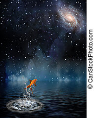 Goldfish leaps under night stars
