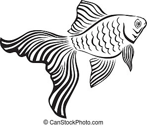 Goldfish - Line art image of a gold fish with its veiltail