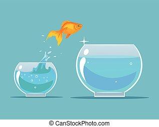 Goldfish making leap