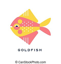 Goldfish, sea fish geometric flat style design vector Illustration