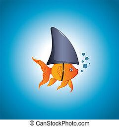 Goldfish Shark - A cute little goldfish wearing a shark fin...